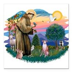 St Francis #2/ Whippet #7 Square Car Magnet 3