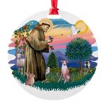 St Francis #2/ Whippet #7 Round Ornament
