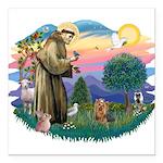 St Francis #2/ Yorkie #7 Square Car Magnet 3