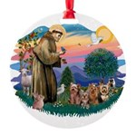 St.Francis #2/ Yorkies (4) Round Ornament