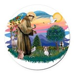 St.Francis #2 / Yorkie (Brewe Round Car Magnet