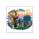 "St.Francis #2/ Yorkie (#9) Square Sticker 3"""