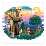 St.Francis #2/ Yorkie (#9) Square Car Magnet 3&quo