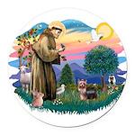 St.Francis #2/ Yorkie (#9) Round Car Magnet