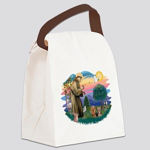 St. Francis / 2 Yorkies Canvas Lunch Bag