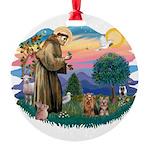 St. Francis / 2 Yorkies Round Ornament