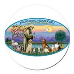 St Francis / dogs-cats Round Car Magnet
