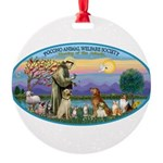 St Francis / dogs-cats Round Ornament