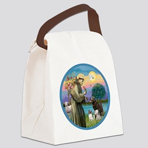 St Francis/3 dogs Canvas Lunch Bag