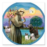 St Francis/3 dogs Square Car Magnet 3