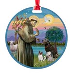 St Francis/3 dogs Round Ornament