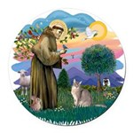 StFran(f)-Abyssinian (bl) Round Car Magnet