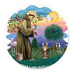 St. Fran (ff) - Brown Tabby Round Car Magnet