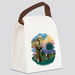 St. Fran (f)-Tabby/white cat Canvas Lunch Bag