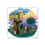 St. Fran (f)-Tabby/white cat Square Sticker 3&quot