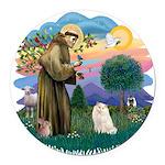 St. Fran (ff) - White Persian Round Car Magnet