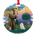 St. Fran (ff) - White Persian Round Ornament