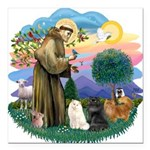 St. Fran (ff) - 3 Persian Cat Square Car Magnet 3&