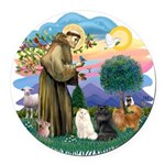 St. Fran (ff) - 3 Persian Cat Round Car Magnet