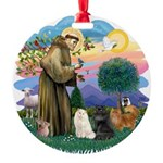 St. Fran (ff) - 3 Persian Cat Round Ornament