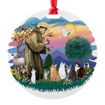 St Francis 2 - 7 Cats Round Ornament