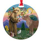 R-St Francis-ShetlandPONY Round Ornament