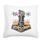 Modern Thors Hammer Square Canvas Pillow