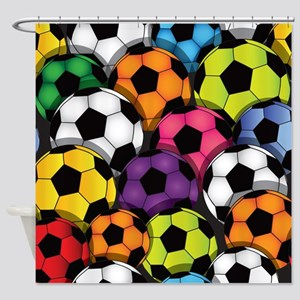 Colorful Soccer Balls Shower Curtain