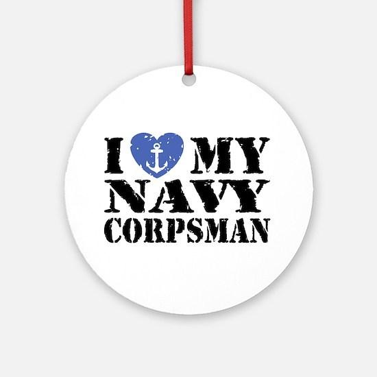 I Love My Navy Corpsman Ornament (Round)