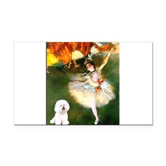 Ballet Dancer & Bichon Rectangle Car Magnet