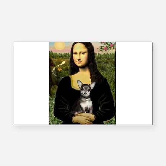Mona Lisa / Chihuahua Rectangle Car Magnet