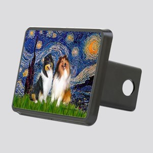 Starry Night / Collie pair Rectangular Hitch Cover