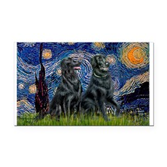 Starry / Two Flat Coated Ret Rectangle Car Magnet