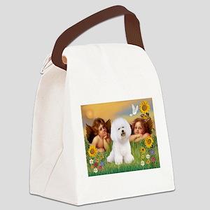 Angels & Bichon Frise Canvas Lunch Bag