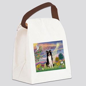 Cloud Angel /Border Collie Canvas Lunch Bag