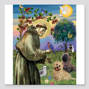 St Francis / Cairn Terrier Square Car Magnet 3&quo