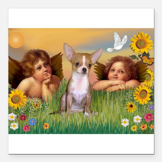 "Angels and Chihuahua Square Car Magnet 3"" x 3"""