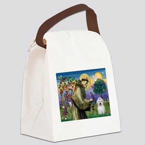 St Francis / Coton de Tulear Canvas Lunch Bag