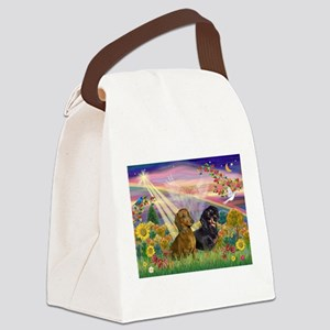 Autumn Angel / Dachshund pair Canvas Lunch Bag