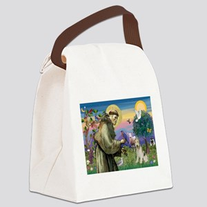 St Francis / Wire Fox Terrier Canvas Lunch Bag