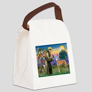 St Francis / Greyhound (f) Canvas Lunch Bag