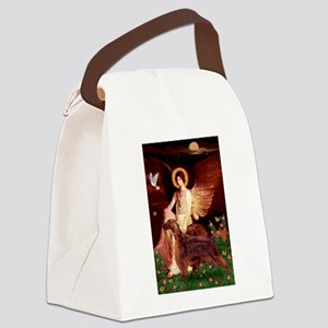 Seated Angel / Irish Setter Canvas Lunch Bag