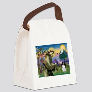 St Francis / Japanese Chin Canvas Lunch Bag