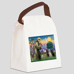 St Francis & Lab Trio Canvas Lunch Bag