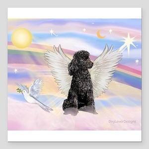 Angel/Poodle (blk Toy/Min) Square Car Magnet 3&quo