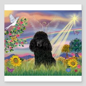 Cloud Angel / Poodle (blk#2) Square Car Magnet 3&q