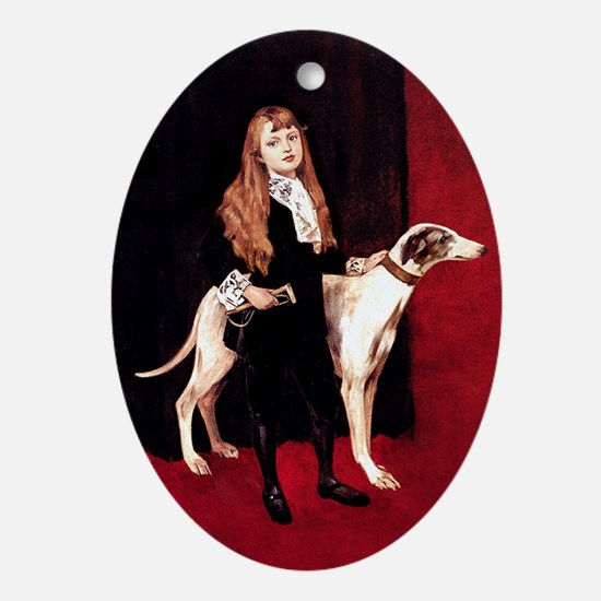 GREYHOUND & GIRL Oval Ornament
