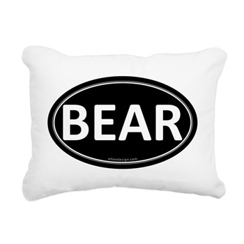 BEAR Black Euro Oval Rectangular Canvas Pillow