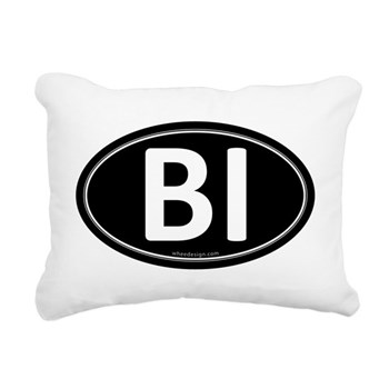 BI Black Euro Oval Rectangular Canvas Pillow