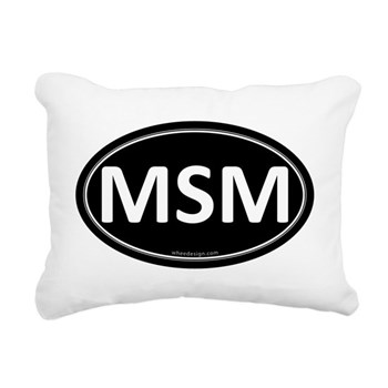 MSM Black Euro Oval Rectangular Canvas Pillow
